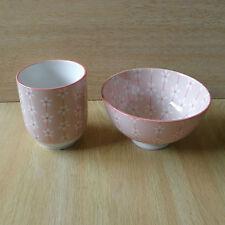 Belle Coupe rose pour le thé japonais et Bol pour manger du riz