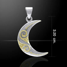Celtic Spiral Crescent Moon Silver and Gold Pendant by Peter Stone
