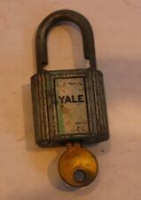 Antique Rare Old Brass Logo Padlock Lock YALE Lock with Working Key