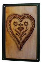 Tin Sign Nostalgic Cutter heart flowers