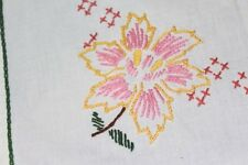 Pretty Pink Holiday Magnolias! Vtg German Hand Embroidered Christmas Tablecloth