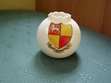 ALTRINCHAM CHESHIRE CREST - CRINKLE TOP VASE - GRAFTON CRESTED CHINA