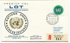 FFC 1970 Lot First Direct Flight Geneve Varsovie REGISTERED Phila Service Onu