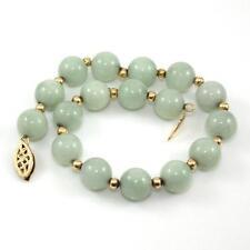 "14K Yellow Gold Bead Ball Green Jade Strand Bracelet 7.5"" QX"