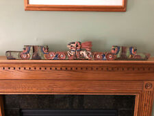 Antique Architectural Salvage Hand Carved & Painted Panel Trim Wall Decor