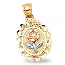 Rose Pendant Flower Charm Diamond Cut Solid 14k Yellow White Rose Gold Oval