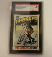 Phil Esposito Signed 1976-77 O-Pee-Chee Card OPC Bruins SGC Slabbed Autographed