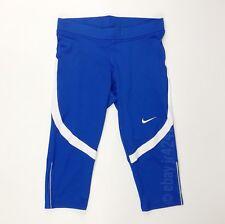 New Nike Women's Medium Power Race Day Capri Blue Leggings Running Tight 835965