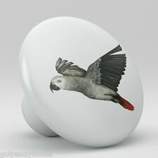 Tropical Parrot Frying African Gray Bird Ceramic Knob Kitchen Drawer Cabinet 388