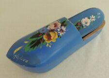 "Vintage Painted Wooden Shoe w/Brush Natural Bristles 9"" Long Blue w/Flowers"