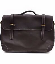 Asos Brown Loop Leather Satchel Shoulder Cross Body Smart Work Briefcase Bag New