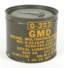 (1) Army GMD GREASE MOLYBDENUM DISULFIDE G-353 Military Surplus 1lb Can - NOS