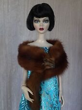 "AllforDoll ""1930s Fashion"" Brown Mink Fur WRAP for 18.5"" Evangeline Tonner Doll"