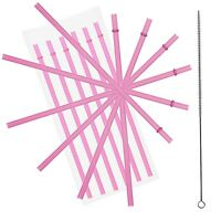"10.5"" Pink Acrylic Straw Set of 10 With Cleaning Brush"