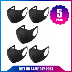NEW 5x Black Face Mask Reusable Washable Breathable Dust Mouth Cover Protection