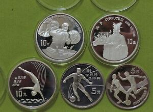 5 Silbermünzen China 1986-1994 - Lot 1
