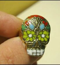 Day Of The Dead Sugar Skull Floral Enamel Mexican Adjustable Ring Statement 2