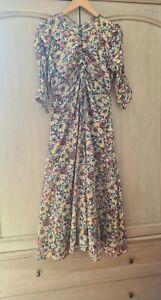 MASSCOB Mina dress fine floral cotton maxi rushed L(uk12)
