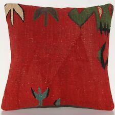 "16""x16"" Designer Pillow Cover Turkish Wool Square Hand Woven Red Kelim Area Rugs"