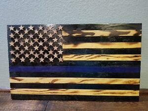 Rustic Wooden American Flag Thin Blue Line Police Law Enforce 24x13 Fire Burned