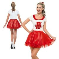 Grease Sandy Cheerleader Costume Adult Womens School Ladies Fancy Dress New