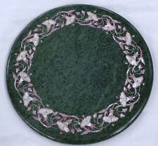 "12"" Green Marble round corner Table top Semi precious stones floral handmade art"