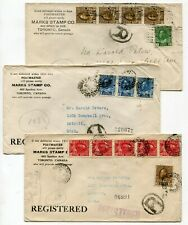 Canada ONT Ontario - Toronto 1921 Mark's Stamps - Admiral Registered Covers x 3