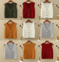 Womens Knitted Vest Sweater Coat Sleeveless Tank Top Waistcoat Jumper Cardigan