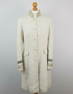 Principles Collection Womens Cream Embellished Collar Long Viscose Overcoat UK12