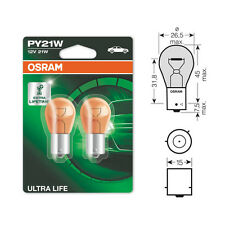 2 x Osram Ultra Life 581 PY21W Amber Front Rear Indicator Light Bulb 12v 21w
