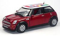 NEU: Mini Cooper S Sammlermodell 1:28 rot mit internationalen Flaggen KINSMART