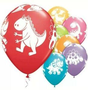 10x Dinosaur Cute Multicoloured Latex Balloons Dino Print Birthday Party Kids