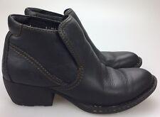 Born Black Leather Slip On Clogs Shoe Boot Booties Heels Shooties 6 M 36.5