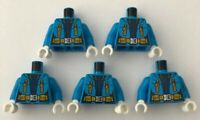 LEGO 5 x Torsos Female Jacket Dark Azure Arctic Blue Minifigure Torso Bundle