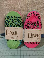 NEW Girls NORDSTROM Micro Liner Foot Ped Socks  6-Pack, S/M -Multi Leopard Print