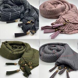 Leather Tassel Crinkle Plain Scarf Hijab Sarong Large Cotton Maxi Shawl Wrap