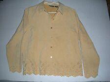 Womens Relativity Petite Yellow Button Up Shirt polyester Size PM long sleeve