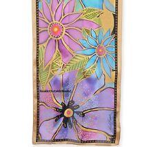Laurel Burch Neck SCARF Wrap Silk Floral Purple Teal Flora New