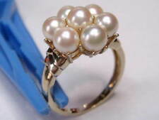 Vint.- 14k Yellow Gold - 7 Pearl Cluster Cocktail Ring -Sz 9 1/4 & weight 5.73 g
