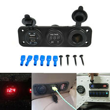 High Quality 3in1 Waterproof Car Triple USB Charger Voltmeter Cigarette Lighter