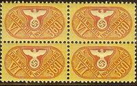 Stamp Germany Revenue Block WW2 3rd Reich War Era Invalid VI 360 MNH