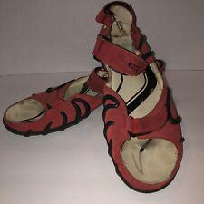 040e17941028 Ecco Women s Red Suede Sandals Shoe Size 42 Back Strap