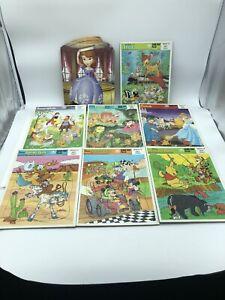 Lot Of 7 Vintage Golden Frame Tray Puzzles Disney Mickey,Snow White, Plus Sofia