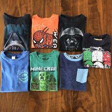 Lot of 7 Kids T Shirts Boys Xs 4-5 Cotton Jaws Star Wars Minecraft Spiderman
