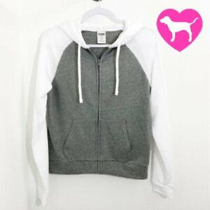 VS Victorias Secret PINK with 5th & Ocean Classic Full Zip Hoodie Gray White S