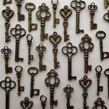 LOT OF 48 Vintage Style ANTIQUE SKELETON FURNITURE CABINET OLD LOCK KEYS Bronze