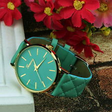 Ladies Gold Geneva Quartz Green Faced Green Checked Band Wrist Watch.(Aussie)