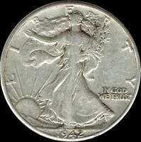 "A 1942 S Walking Liberty Half Dollar 90% SILVER US Mint ""Average Circulation"""