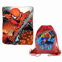 """MARVEL SPIDER-MAN Kids Boys Fleece Throw Blanket 45"""" x 60"""" + Sling Backpack NEW"""