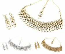 KUNDAN NECKLACE EARRING JEWELLERY SET WEDDING PARTY PEARL ANTIQUE NECKLACE SET 2